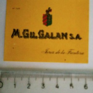 ETIQUETA M.GIL.GALAN S.A. JEREZ DE LA FRONTERA