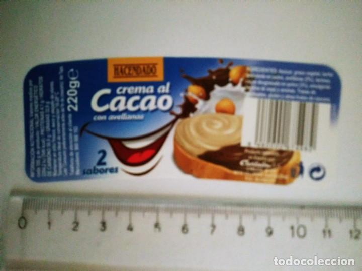 ETIQUETA CREMA AL CACAO HACENDADO CREMA DE CACAO 220GR MERCADONA 2 COLORES CHOCOLATE (Coleccionismo - Etiquetas)