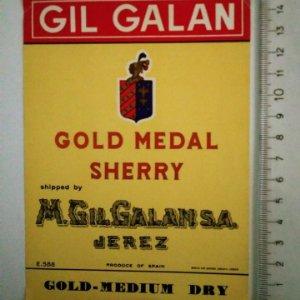 ETIQUETA GIL GALAN GOLD MEDAL SHERRY M.GIL GALAN S.A. JEREZ GOLD MEDIUM DRY