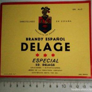 ETIQUETA BRANDY ESPAÑOL DELAGE ESPECIAL EMBOTELLADO EN ESPAÑA JEREZ DE LA FRONTERA