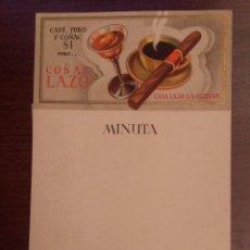 Etiquetas antiguas: ANTIGUA PUBLICIDAD COÑAC LAZO, 21.5 X 13.5CM. Lote 120876891