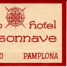 Etiquetas antiguas: ETIQUETA HOTEL .- NUEVO HOTEL MAISONNAVE EN PAMPLONA. Lote 121927919