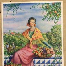 Étiquettes anciennes: ETIQUETA PUBLICITARIA FRUTAS. JOVEN CAMPESINA EN LA COSECHA. CIRCA 1940. Lote 122757362