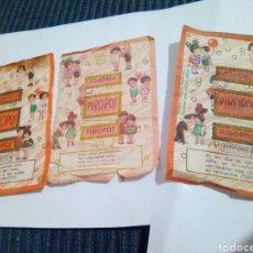 Etiquetas antiguas: LOTE TRES ENVOLTORIOS CARAMELOS PIROPOS. Lote 124659954