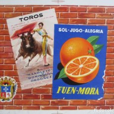 Etiquetas antiguas: CARTEL ETIQUETA NARANJAS, SOL - JUGO - ALEGRIA, FUEN - MORA, TOROS, CARCAGENTE,PRUEBA IMPRENTA, EP41. Lote 125408871
