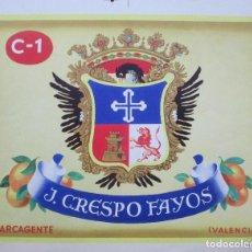 Etiquetas antiguas: CARTEL ETIQUETA NARANJAS, J. CRESPO FAYOS, CARCAGENTE, VALENCIA, ESCUDO, PRUEBA IMPRENTA, EP78. Lote 125412823