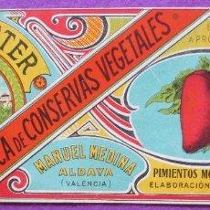 Etiquetas antiguas: CARTEL ETIQUETA, EL PALLETER, FABRICA CONSERVAS VEGETALES, MANUEL MEDINA, ALDAYA, EP80. Lote 125413335