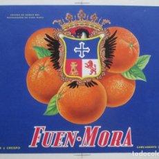 Etiquetas antiguas: CARTEL ETIQUETA NARANJAS, FUEN - MORA, ESCUDO DE ARMAS, CARCAGENTE, PRUEBA IMPRENTA, P83. Lote 125413879