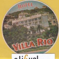 Etiquetas antiguas: ETIQUETA HOTEL BALEARES HOTEL VILLA RIO TROQUEL EF- 6803 165. Lote 125425395
