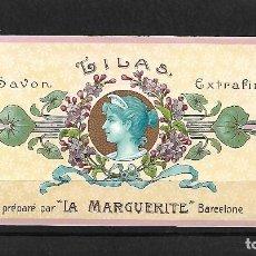 Etiquetas antiguas: EXTRAORDINARIA ETIQUETA ANTIGUA DE- SAVON LILAS EXTRAFINA - LA MARGUERITE -BARCELONA. Lote 125962191