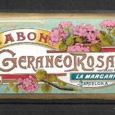Etiquetas antiguas: EXTRAORDINARIA ETIQUETA ANTIGUA DE- JABON GERANEO ROSA - LA MARGUERITA -BARCELONA. Lote 125962263