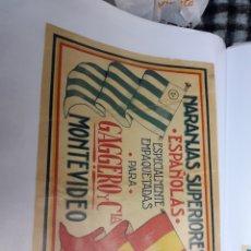 Etiquetas antiguas: ETIQUETA ANTIGUA NARANJAS GAGGERO MONTEVIDEO. Lote 126437394