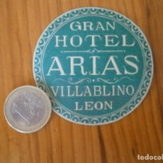 Étiquettes anciennes: ¡¡PRECIOSA ETIQUETA AÑOS 40 50¡¡ LEON¡¡GRAN HOTEL ARIAS. Lote 126461743