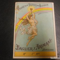 Etiquetas antiguas: ETIQUETA SIGLO XIX FABRICA TEJIDOS DE ALGODON BAGUER Y ARIMANY DE BARCELONA - LIT. MIRALLES. Lote 127922747