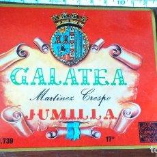 Etiquetas antiguas: ANTIGUA ETIQUETA VINO GALATEA JUMILLA MARTÍNEZ CRESPO . Lote 127953535