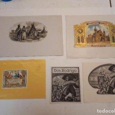 Etiquetas antiguas: 5 HABILITACIONES PUROS. Lote 128272239