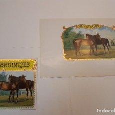 Etiquetas antiguas: 2 HABILITACIONES PUROS, BRUINTJES. Lote 128276179