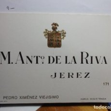 Etiquetas antiguas: ETIQUETA DE UNA BODEGA DE JEREZ FRA. ANTIGUA.. Lote 128495435