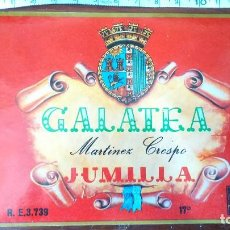 Etiquetas antiguas: ANTIGUA ETIQUETA GALATEA VINO JUMILLA MARTÍNEZ CRESPO . Lote 128638987