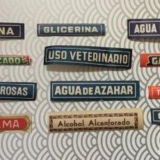 Etiquetas antiguas: 12 ANTIGUAS ETIQUETAS DE FARMACIA / FÁRMACOS / MEDICINA / MEDICAMENTO - FINALES XIX - SIN USAR RARO. Lote 128913215