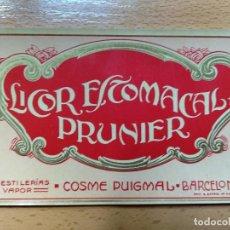 Etiquetas antiguas: ETIQUETA LICOR ESTOMACAL PRUNIER. COSME PIGMAL, BARCELONA.. Lote 236465065