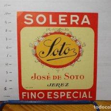 Etiquetas antiguas: ETIQUETA DE UNA BODEGA DE JEREZ FRA... ANTIGUA.. Lote 129403187