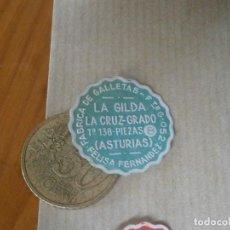Etiquetas antiguas: ¡¡PRECIOSA ETIQUETA PUBLICITARIA,AÑOS 30 40¡¡ FABRICA DE GALLETAS LA GILDA (ASTURIAS). Lote 129422343