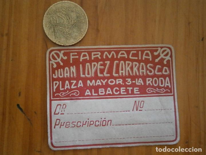 95f6e73f32c ¡¡PRECIOSA ETIQUETA PUBLICITARIA ¡¡AÑOS 40 50¡ALBACETE¡FARMACIA JUAN LOPEZ