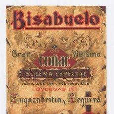 Etiquetas antiguas: ETIQUETA BISABUELO *GRAN COÑAC* SOLERA ESPECIAL - ZUGAZABEITIA Y LEGARRA 1918 (BILBAO) - 6,5X5 CM. Lote 238812170
