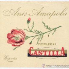Etiquetas antiguas: ETIQUETA *ANIS AMAPOLA* - DESTILERIAS CASTILLA (SANTANDER) - 13X11 CM. Lote 238808320