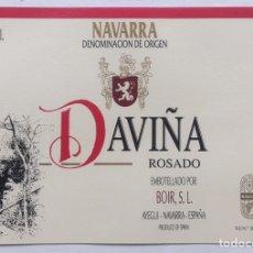 Etiquetas antiguas: ETIQUETA VINO ROSADO DAVIÑA - BOIR SL - AYEGUI - NAVARRA. Lote 130191468