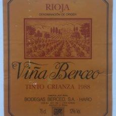 Etiquetas antiguas: ETIQUETA VINO RIOJA VIÑA BERCEO - TINTO CRIANZA 1988 - BODEGAS BERCEO SA - HARO - SAN ADRIAN. Lote 130255043