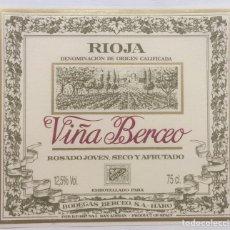 Etiquetas antiguas: ETIQUETA VINO RIOJA VIÑA BERCEO - ROSADO JOVEN SECO Y AFRUTADO - BODEGAS BERCEO - HARO. Lote 130256010