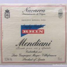Etiquetas antiguas: ETIQUETA VINO MENDIANI - ROSADO - LUIS GURPEGUI MUGA - COMPLEJO HOTELERO RHIN - VILLAFRANCA NAVARRA. Lote 130258318