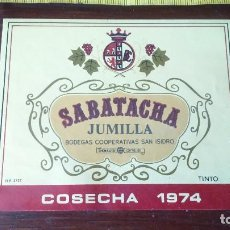 Etiquetas antiguas: ANTIGUA ETIQUETA VINO TINTO SABATACHA JUMILLA 1974. Lote 130333438
