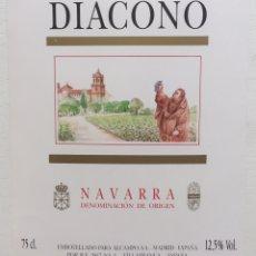 Etiquetas antiguas: ETIQUETA VINO DIACONO - VILLAFRANCA - NAVARRA. Lote 130415403