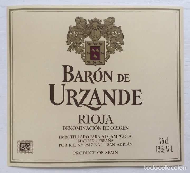 Etiqueta Vino Rioja Baron De Urzande Bodega A Comprar