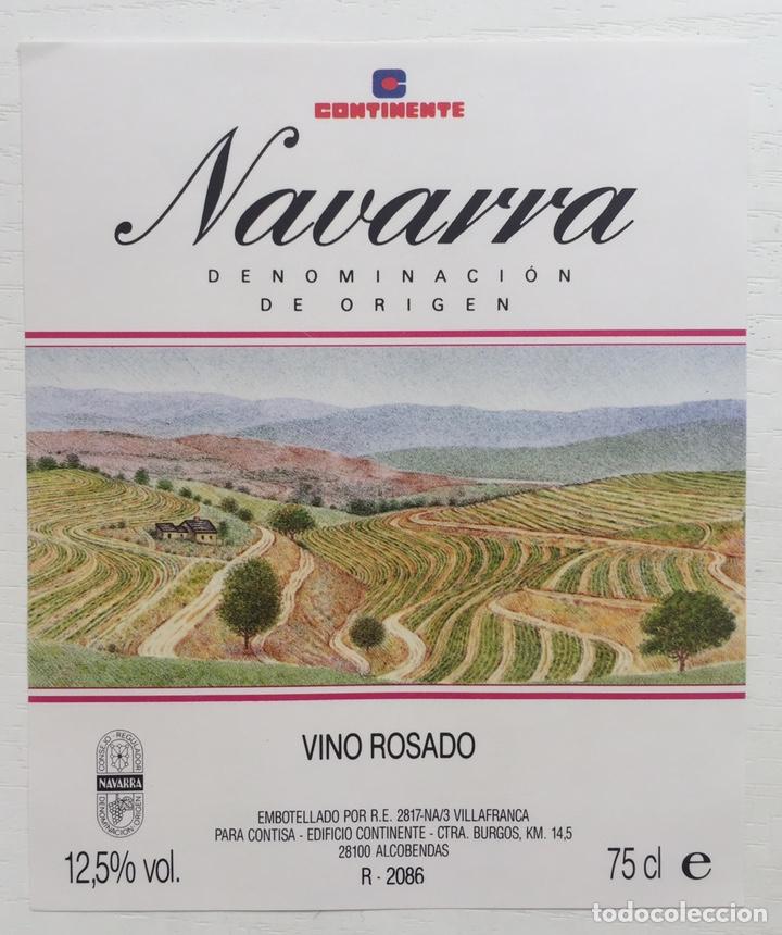 ETIQUETA VINO ROSADO NAVARRA - CONTINENTE - VILLAFRANCA (Coleccionismo - Etiquetas)