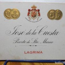 Etiquetas antiguas: ETIQUETA DE UNA BODEGA DE PUERTO SANTA MARIA..... ANTIGUA.. Lote 130611626