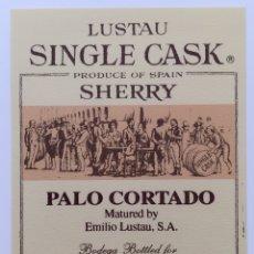 Etiquetas antigas: ETIQUETA VINO PALO CORTADO - BODEGAS EMILIO LUSTAU - JEREZ SHERRY - ESPAÑA. Lote 130921785
