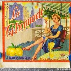 Etiquetas antiguas: LA CITRONNADE. J. CANOVAS MOMPEAN. ETIQUETA DE LIMONES. BENIAJAN, MURCIA. AÑOS 50. Lote 130981428