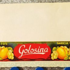 Etiquetas antiguas: ETIQUETA FRUTOS SELECTOS. MARCA GOLOSINA. GARCIA GALLEN Y CIA. Lote 131175388