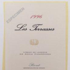Etiquetas antiguas: ETIQUETA PEGATINA VINO LES TERRASSES - BODEGAS ALVARO PALACIOS - GRATALLOPS (CATALUÑA) PIORAT - 1996. Lote 131278998