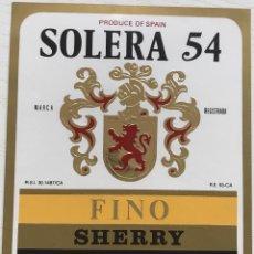 Etiquetas antiguas: ETIQUETA SOLERA 54 - FINO SHERRY - LUIS PAEZ - JEREZ. Lote 131583834