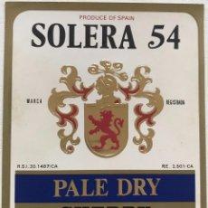 Etiquetas antiguas: ETIQUETA SOLERA 54 - PALE DRY SHERRY - LUIS PAEZ - JEREZ. Lote 131583990