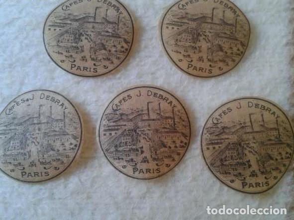 LOTE DE 5 ANTIGUAS ETIQUETAS CAFÉS DEBRAY PARÍS FRANCIA FRANCE. ETIQUETA LABEL LABELS CAFÉ COFFEE (Coleccionismo - Etiquetas)