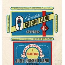 Etiquetas antiguas: ASTORGA (LEÓN) PUBLICIDAD DE FÁBRICA DE CHOCOLATES Y MANTECADAS DE CRESPO CANO.. Lote 131996086