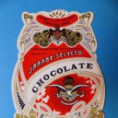 Etiquetas antiguas: 25 ANTIGUAS ETIQUETAS DE JARABE SELECTO CHOCOLATE - ENRIQUE SANZ, VALENCIA, AÑOS 1950-60. Lote 132643694