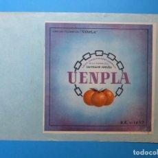 Etiquetas antiguas: UENPLA, CASTELLON - ANTIGUA ETIQUETA DE NARANJAS - AÑOS 1940-50. Lote 132879906