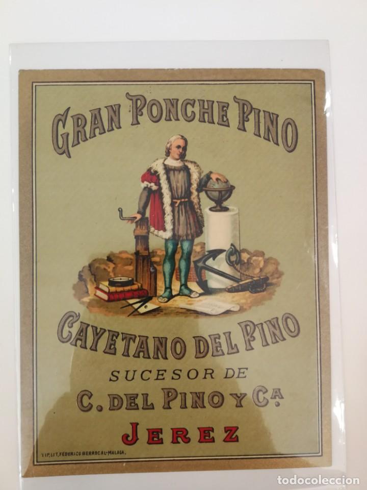GRAN PONCHE PINO. CAYETANO DEL PINO. JEREZ. LIT. FEDERICO BERROCAL. (Coleccionismo - Etiquetas)